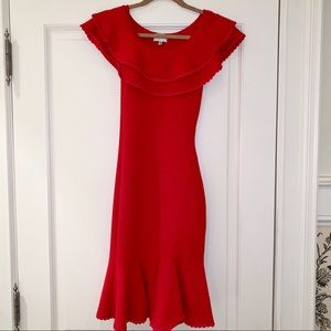 Milly Red Off Shoulder Ruffle Dress